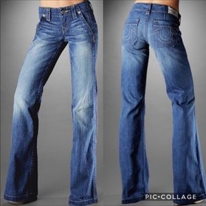 True Religion Sammy Wide Leg Flared Blue Jeans 32